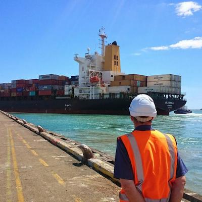 Image Of Man Watching A Cargo Ship Leaving Nelson Port,